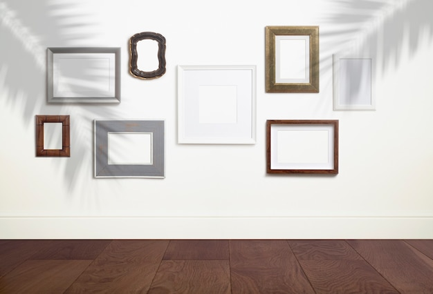 Mock up empty white frame background different decorative empty frames for a photo or painting