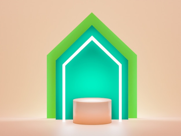 Mock up for the exhibitions, product. abstract color geometric, 3d render