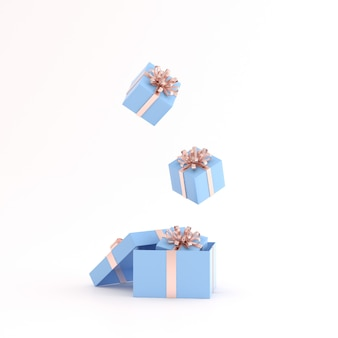 Mock up of floating gift box on white space.