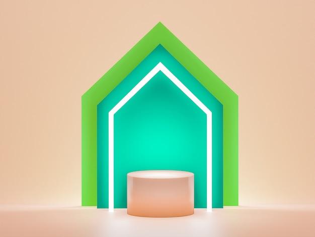 展示会、製品のモックアップ。幾何学的な抽象的な色、3dレンダリング