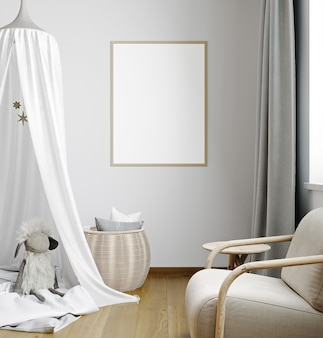 Mock up frame in children room with natural wooden furniture, stylish interior background, 3d rendering
