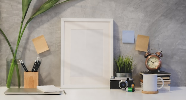 Mock up frame and copy space with office supplies