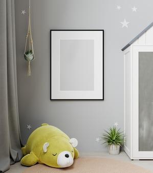 子供部屋のインテリアの背景、スカンジナビアスタイル、3dレンダリングでフレームをモックアップ