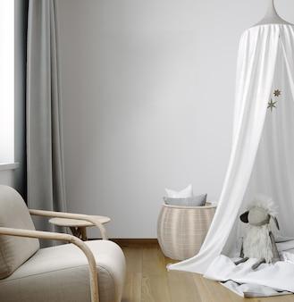 自然な木製家具、スタイリッシュなインテリアの背景、3dレンダリングで子供部屋のフレームをモックアップ