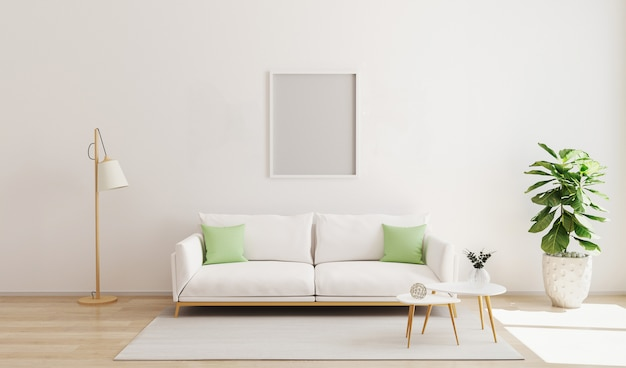 현대적인 인테리어에 프레임을 비웃는 다. 스칸디나비아 스타일. 밝고 아늑한 거실 인테리어. 대비 베개와 흰 벽과 소파가있는 거실. 3d 렌더링