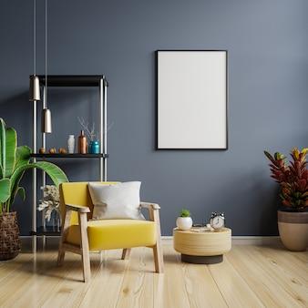 青い空の壁とモダンなリビングルームのインテリアデザインのフレームをモックアップします。3dレンダリング