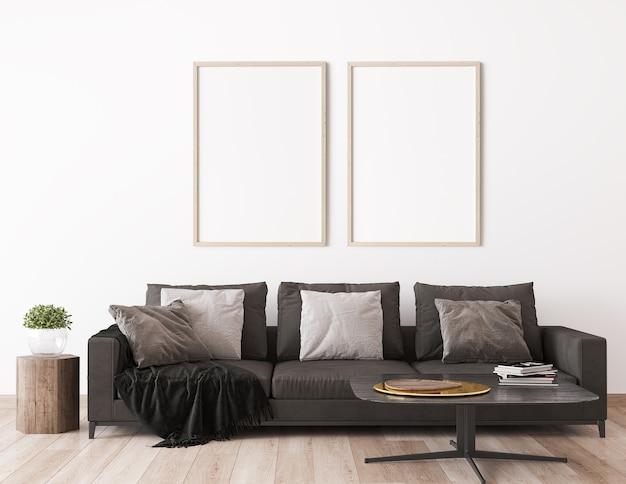 스칸디나비아 거실 디자인의 프레임 모의, 어두운 소파가있는 가정 장식