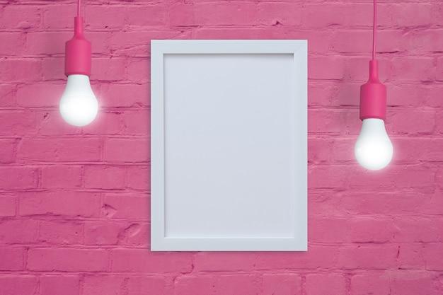 Рамка-макет на розовой кирпичной стене с лампочками. вставьте свой текст или изображение