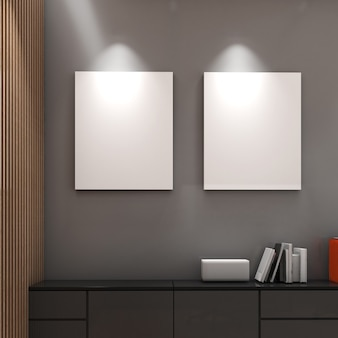 낮은 캐비닛, 현대적인 스타일, 흉내낸 포스터 또는 그림, 3d 렌더링이 있는 회색 벽의 모의 프레임
