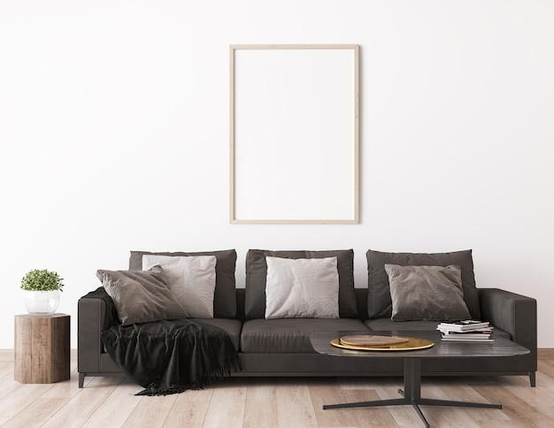 Mock up frame in scandinavian living room design, home decor with dark sofa