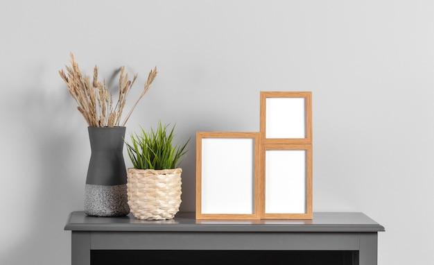 Mock up frames on cabinet
