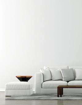 モックアップ家具と空の豪華なリビングルームのインテリアデザインと家具の装飾