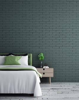 Макет мебельного декора в минималистском интерьере спальни на фоне зеленой кирпичной стены