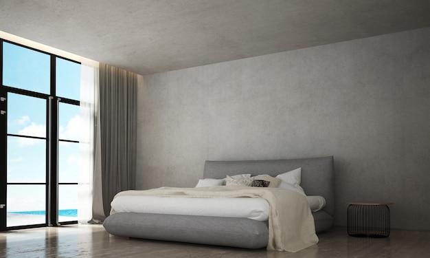 Макет мебельного декора в современном интерьере спальни в стиле лофт и фоне бетонной стены