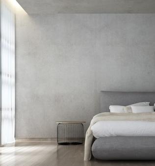 モダンなロフトスタイルの寝室のインテリアとコンクリートの壁の背景に家具の装飾をモックアップ