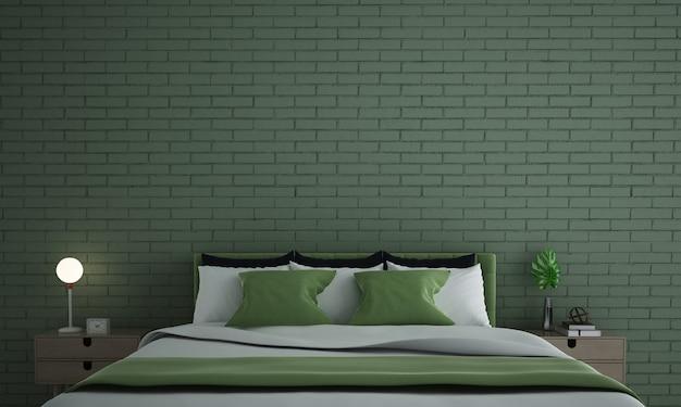 Макет мебельного декора в современном интерьере спальни в стиле лофт на фоне зеленой кирпичной стены