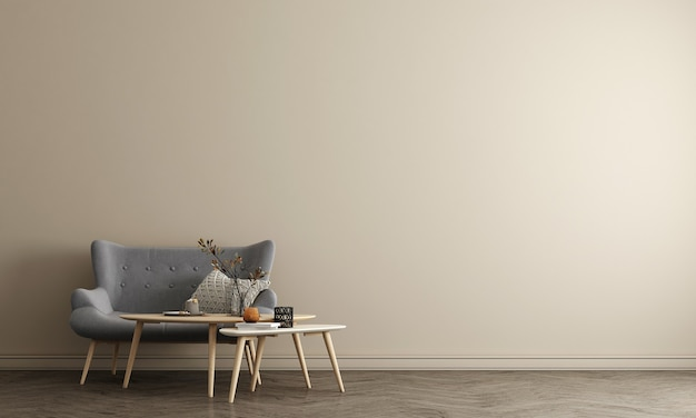 The mock up furniture design in minimal interior and beige wall background