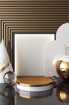 Макет геометрической формы, текстуры золота и стекла с подиумом черного цвета для продукта