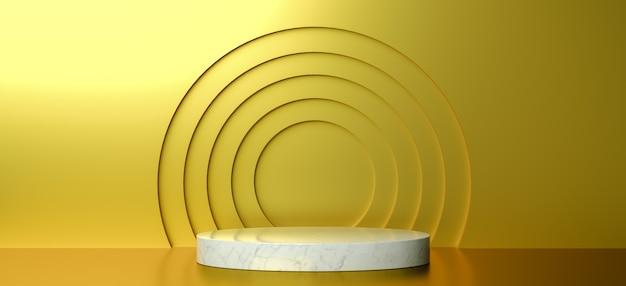 製品デザイン、3dレンダリング、ゴールデンの幾何学的形状の表彰台をモックアップ
