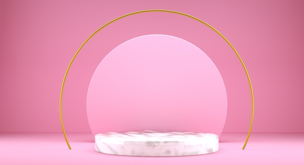 제품 디자인, 3d 렌더링, 핑크 색상을위한 기하학적 모양 연단 모의