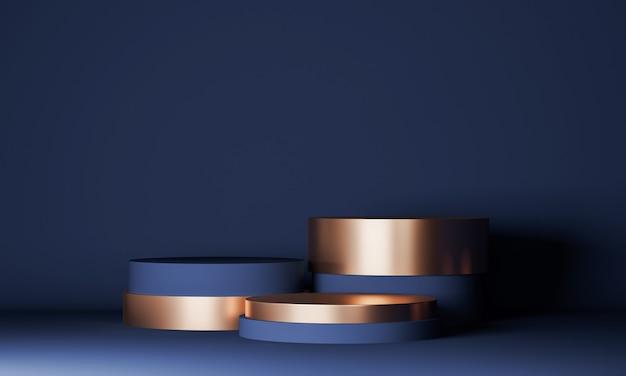 제품 디자인을위한 기하학적 모양의 연단 모의, 화장품을 소개하는 남색의 3 개 실린더