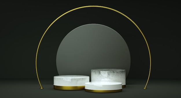 Mock up geometric shape podium for product design, 3d rendering, dark and elegant