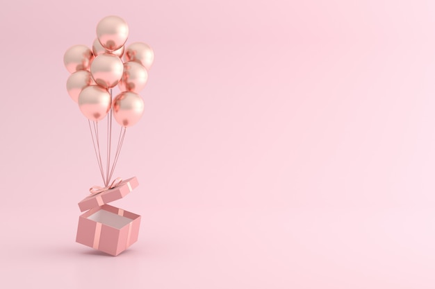 Mock up of gift box and balloons in minimal style.