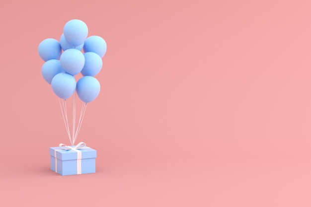 Mock up of gift box and balloons on pink space.