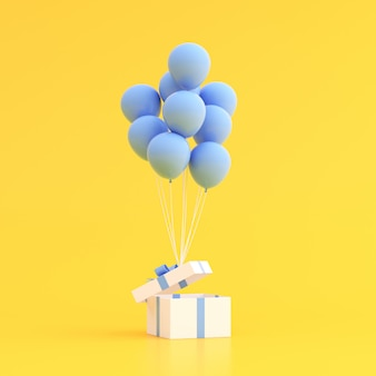 Mock up of gift box and balloons.