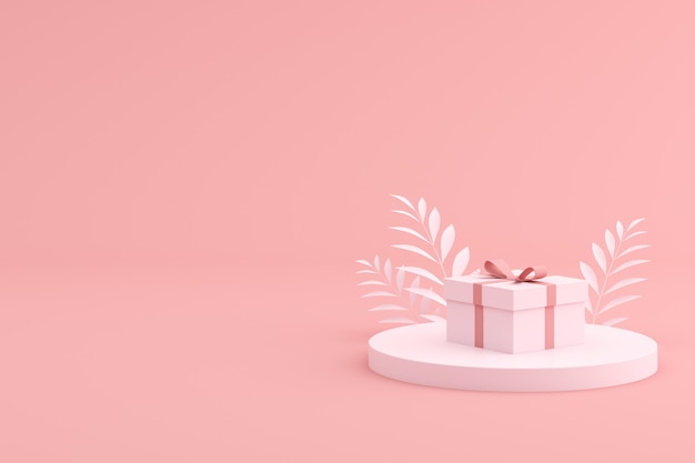 Mock up of gift box on pink space.