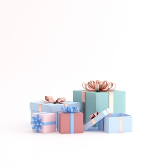 Mock up of gift box on white space.