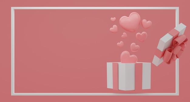 Макет подарочной коробки с летающими сердечками из воздушных шаров