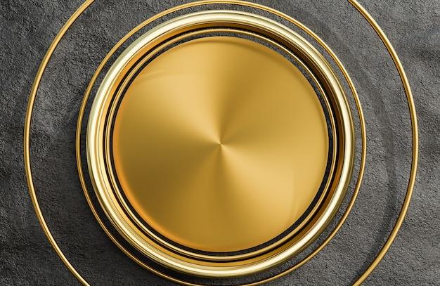 검은 돌 벽 배경, 3d 모델 및 그림에 황금 접시와 아치를 비웃습니다.