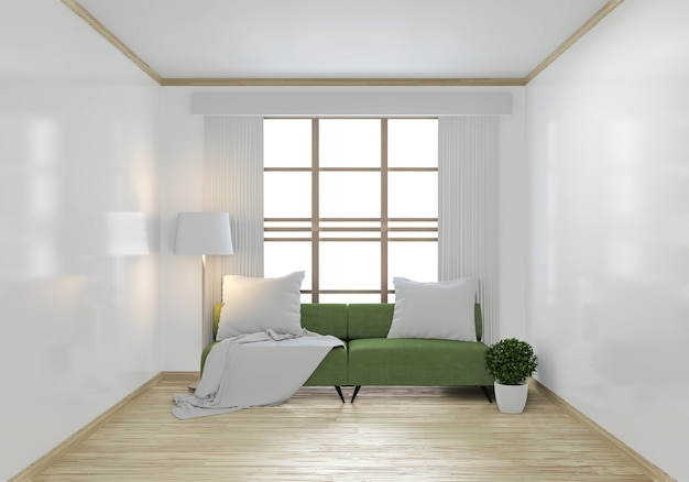 Mock up green sofa and decoration plants