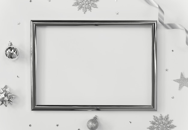 Mock up greeting frame on white  with christmas decorations and confetti.