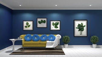 Mock up, hipster living room interior design