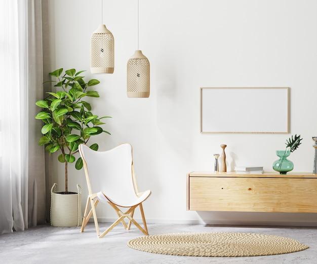흰색 안락의자와 목재 가구, 스칸디 보헤미안 스타일, 3d 렌더링을 갖춘 거실 내부 배경의 수평 프레임