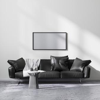 검은색 소파, 3d 렌더링이 있는 현대적인 미니멀리즘 스타일의 거실 내부에서 수평 그림 프레임을 조롱합니다.