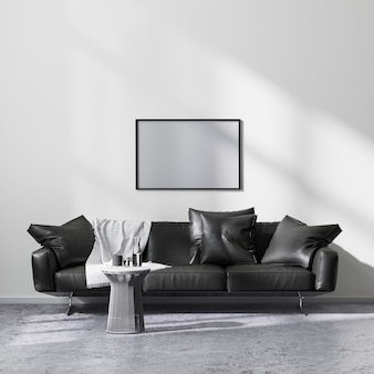Mock up horizontal picture frame in modern minimalistic style living room interior with black sofa, 3d rendering