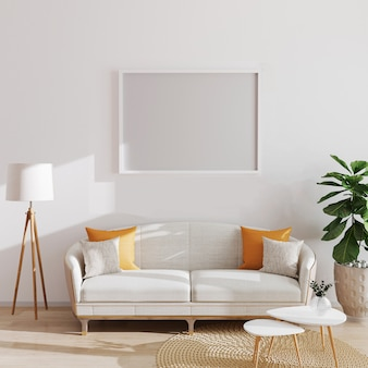 Mock up horizontal poster or picture blank frame in modern minimalistic interior , scandinavian style, 3d illustration