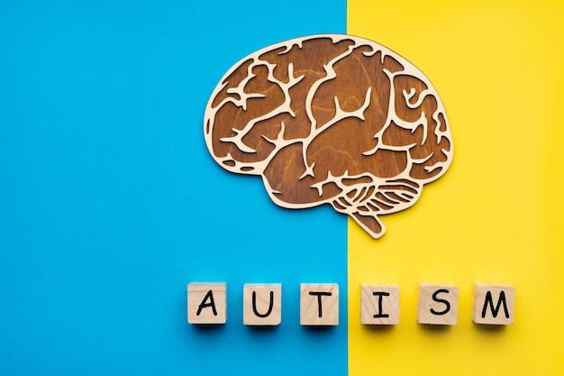 Mock up of a human brain on a yellow and blue background. six cubes with the inscription autism.