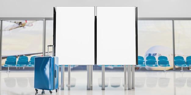 空港の情報画面をモックアップします。正面に青いスーツケースがあり、背景に飛行機の焦点が合っていません。 3dレンダリング