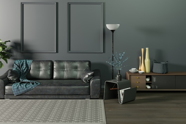 Mock up interior of the living room in monochrome dark wall