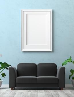 인테리어를 조롱하십시오. 파란 고 약 벽에 빈 캔버스와 그림.