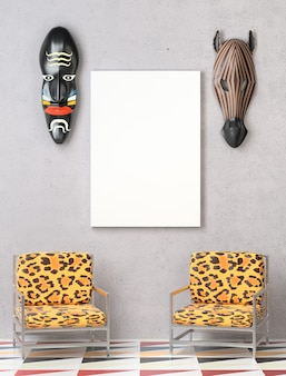 Mock up interior. two chairs with colorful leopard upholstery.