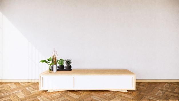 Mock up interior the wooden cabinet and plants decoration on tropical room interior, 3d rendering