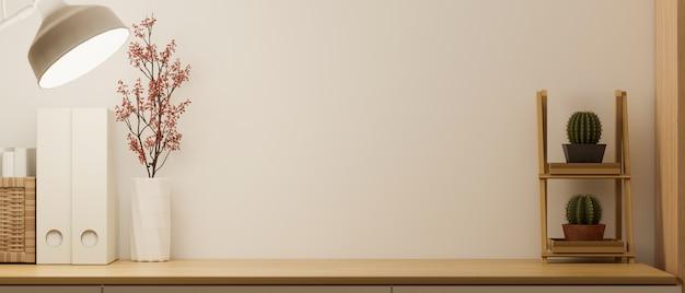 Макет внутреннего рабочего пространства в минималистичном оформлении на деревянном столе 3d-рендеринга