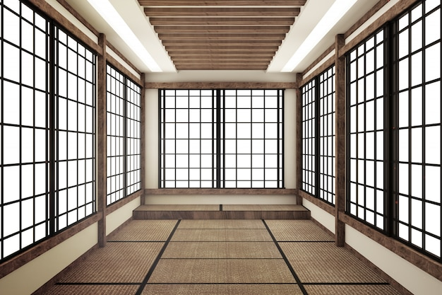 Mock up,japanese style, empty room. 3d rendering