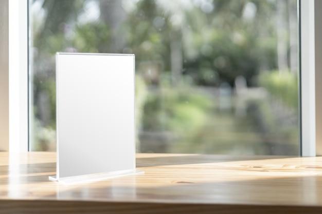 Mock up label the blank menu frame in bar restaurant.