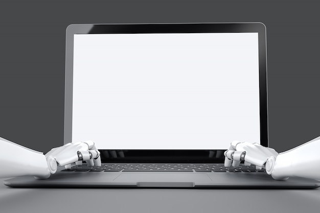 Mock up of a laptop with a white background and robot hands typing on the laptop keyboard.
